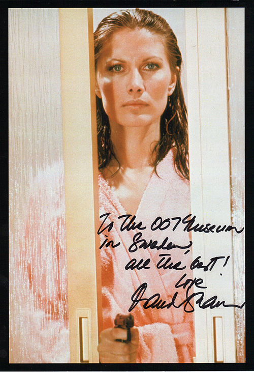 Maud Adams sign up photo to Gunnar Bond James and the James Bond 007 Museum in Nybro Sweden.