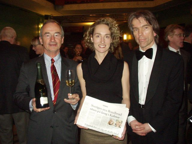 President Champagne House Bollinger Ghislain de Montgolfier  and James Bond Gunnar Sch�fer with  Anette from Arvid Nordquist