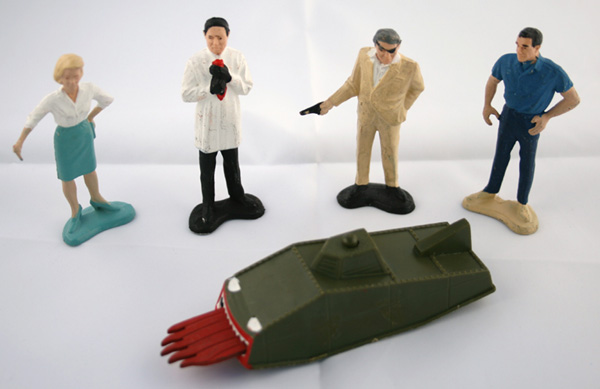 James Bond / Gilbert Toys /  Dragon Tank here with from left Miss Moneypenny Dr No, Gilbert Largo, James Bo