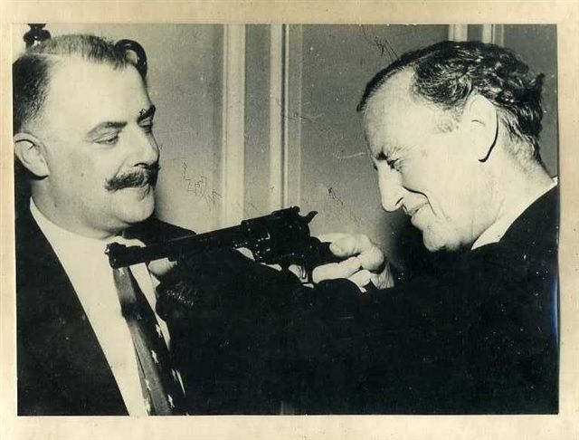 Geoffrey Boothroyd  (Q) and  Ian Fleming author James Bond