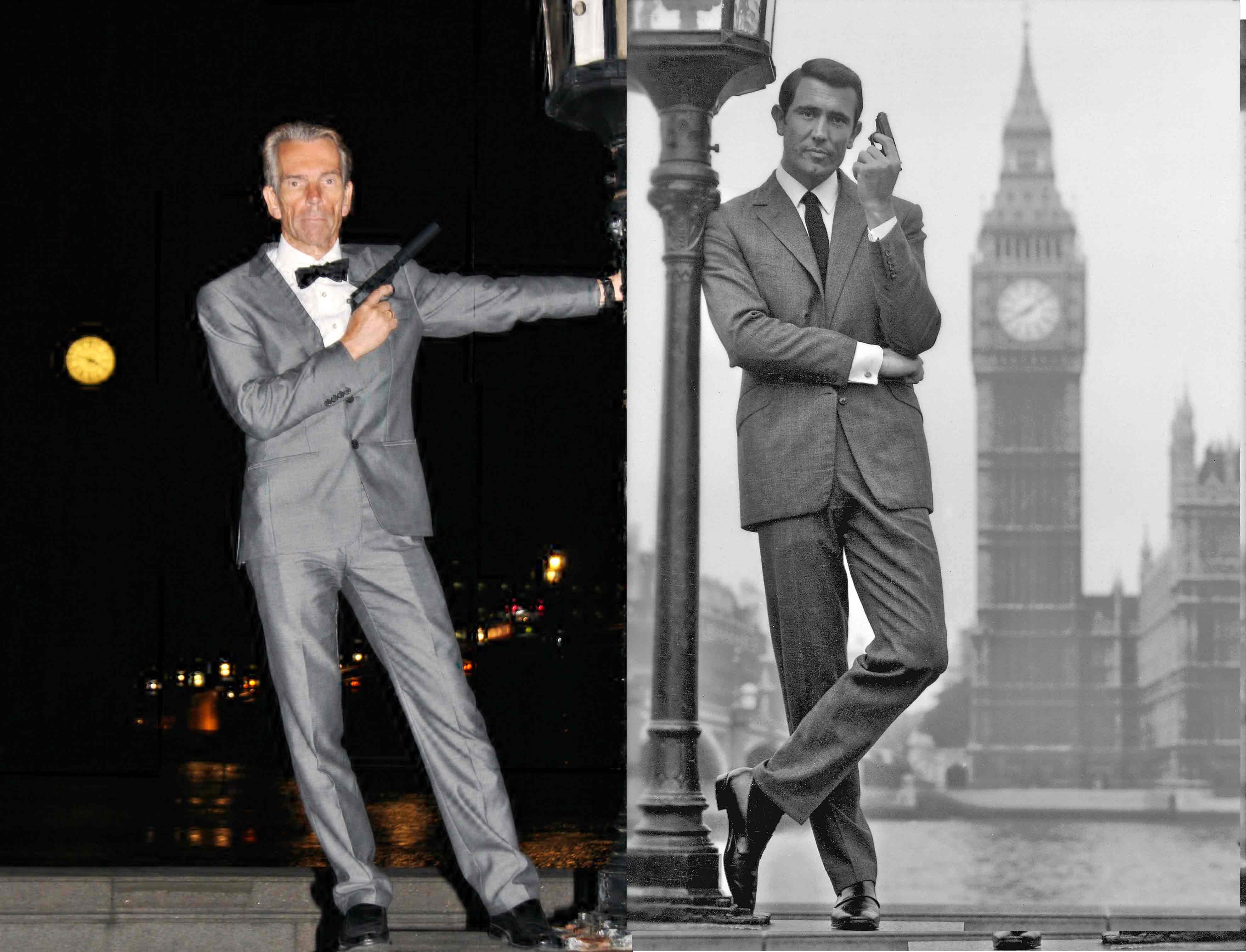 Gunnar Schäfer James Bond and George Lazenby as James Bond Big Ben London